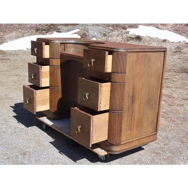 Walnut Antique Art Deco Walnut Office Desk Vanity United Furniture Co. c 1930's For Sale - Image 7 of 11