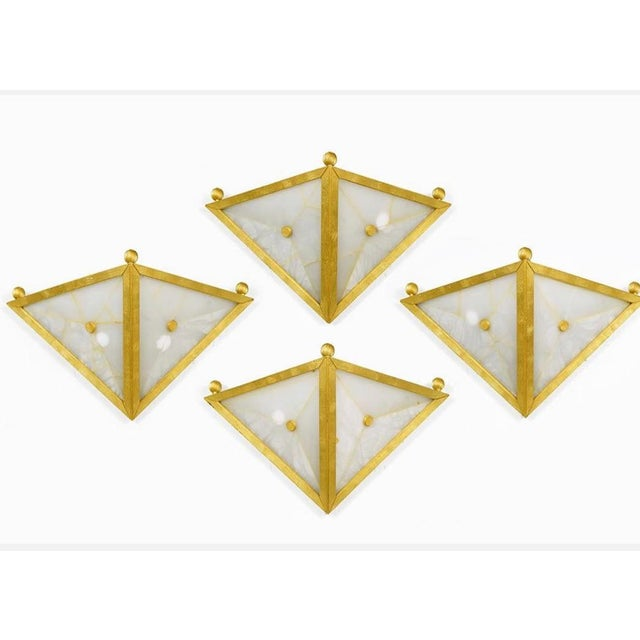 Mid-Century Modern Gilt Bronze Triangular Sconces - Set of 4 For Sale - Image 3 of 11