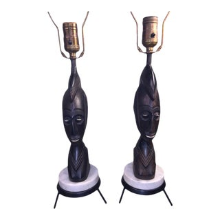 Pair of Mid Century Carved Wood African Bust on Tripod Marble Base Lamps For Sale