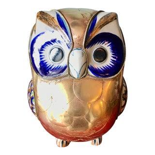 Sergio Bustamante Vintage Ceramic & Brass Owl For Sale
