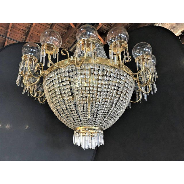 Palatial Neoclassical Brass and Crystal Basket Chandelier with Hanging Prisms For Sale In New York - Image 6 of 10