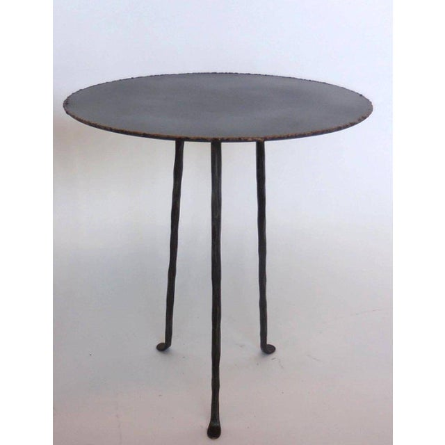 Not Yet Made - Made To Order Pair of Custom Iron Tripod Tables With Bronze Edging For Sale - Image 5 of 7