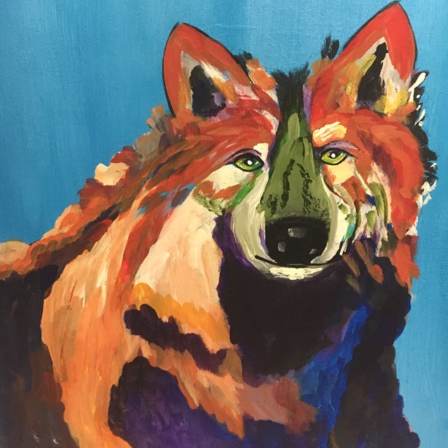 L. Burris Abstract Wolf Acrylic Painting - Image 5 of 6