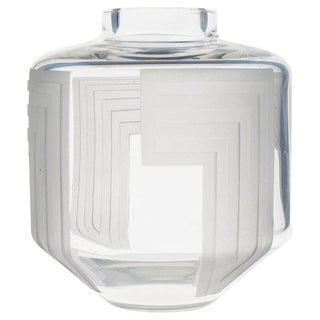 French Jean Luce 1930s Monumental Art Deco Clear Etched Glass Vase For Sale