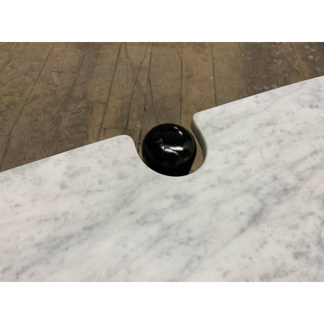 Black 1960s Sculptural Carrara Marble Top Coffee Table For Sale - Image 8 of 9