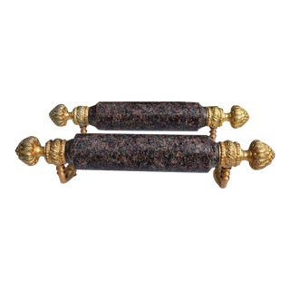 1970's Sherle Wagner Gold and Dark Stone Shower Bar Pulls-a Pair For Sale