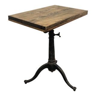 Vintage Side Table Wood Top + Metal Base For Sale