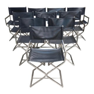Vintage Mid Century Chrome Director Style Chairs- Set of 10 For Sale