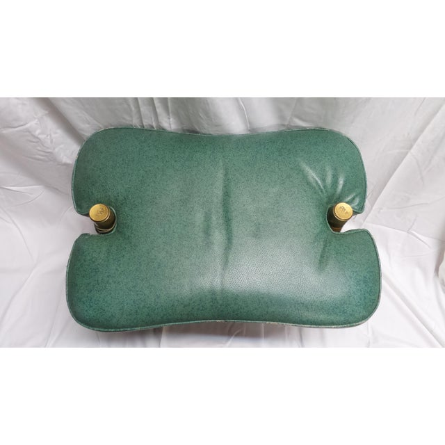 Vintage Camel Saddle Stool with Teal Cushion For Sale - Image 5 of 11