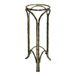 Hollywood Regency Bronze Faux Bamboo Pedestal Vase Planter Garden Element For Sale
