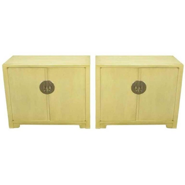 Pair Baker Far East Collection Ivory Glazed Mahogany Cabinets For Sale - Image 10 of 10