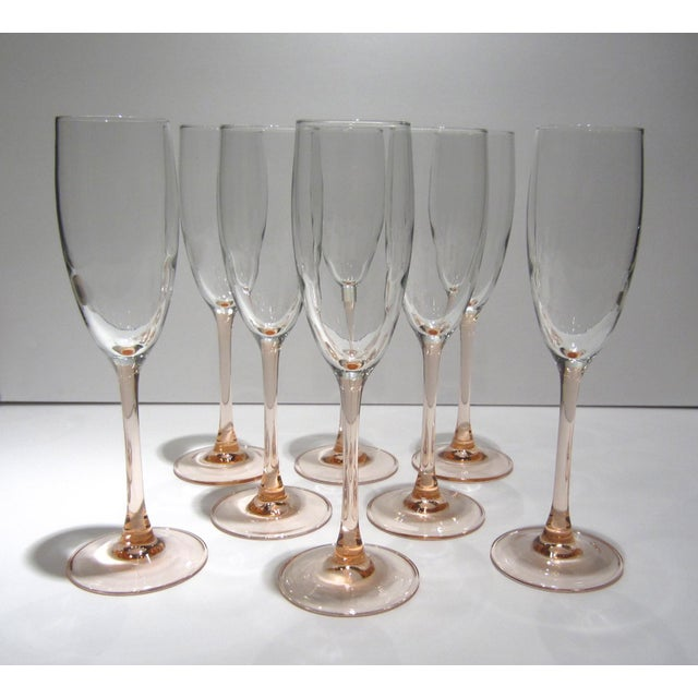 French Pink Champagne Flutes - Set of 8 For Sale - Image 5 of 11