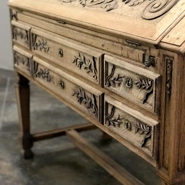 19th Century French Louis XIV Stripped Oak Secretary For Sale - Image 9 of 11