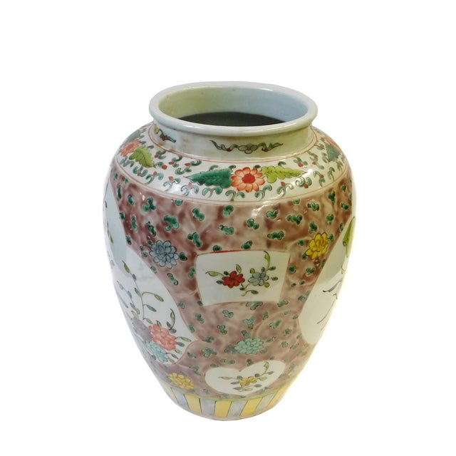 Asian Chinese Flower Bird Scenery Porcelain Vase For Sale - Image 3 of 6