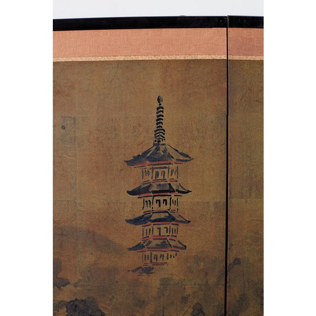 Japanese Four-Panel Screen of Pagoda Bridge Landscape For Sale - Image 9 of 13