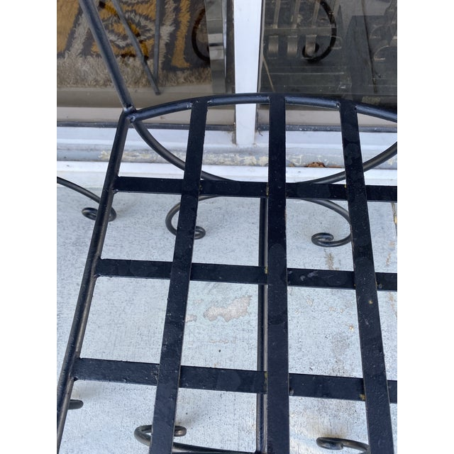 Black Wrought Iron Asian Inspired Set of 6 Patio Chairs For Sale - Image 8 of 13