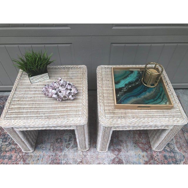 Vintage Wicker End Tables - a Pair For Sale - Image 9 of 11