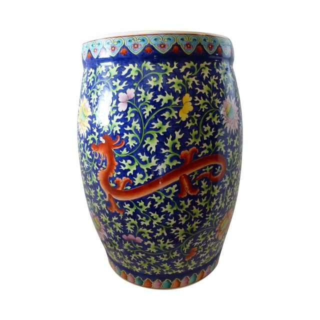 Chinoiserie Garden Stool With Dragon Motif - Image 1 of 8