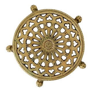 Vintage Cast Brass Footed Trivet For Sale