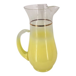 Vintage Blendo Virginia Glass Yellow Pitcher For Sale