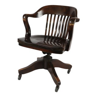 1940s Antique Taylor Chair Co Rolling Swivel Maple Birch Wood Lawyer Bankers Chair For Sale