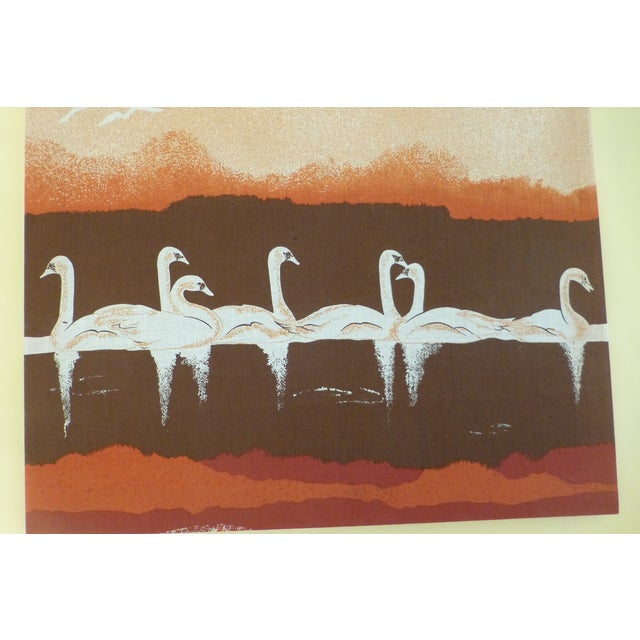 Vintage 1970s Fabric Art of Graceful Swans - Image 4 of 7