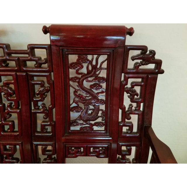 Rosewood Vintage Mid Century Asian Carved Rosewood Settee For Sale - Image 7 of 12