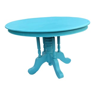 Aqua Blue Solid Cherry Dining Table For Sale