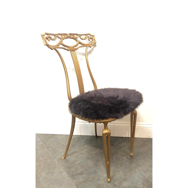 Hollywood Regency 1950s Vintage Italian Neoclassical Style Gold Gilt Wrought Iron Accent Chair For Sale - Image 3 of 12