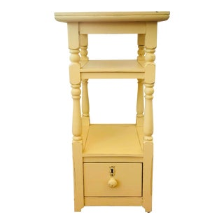 Country Cottage Narrow Nightstand in Buttercream Yellow For Sale