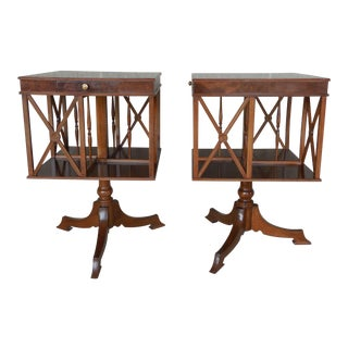 Burl Walnut Banded Regency Directoire Style Revolving Bookcase Tables - A Pair