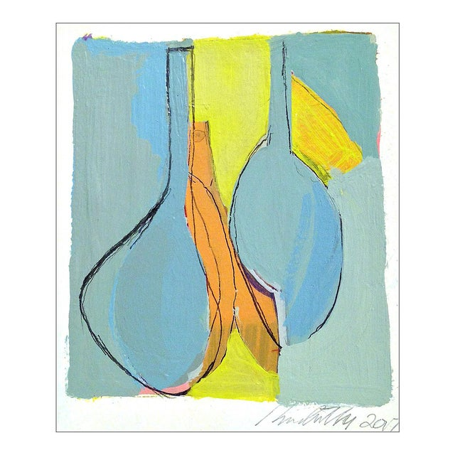 Two Blue Salmon Vases Contemporary Painting On Rag Paper Chairish
