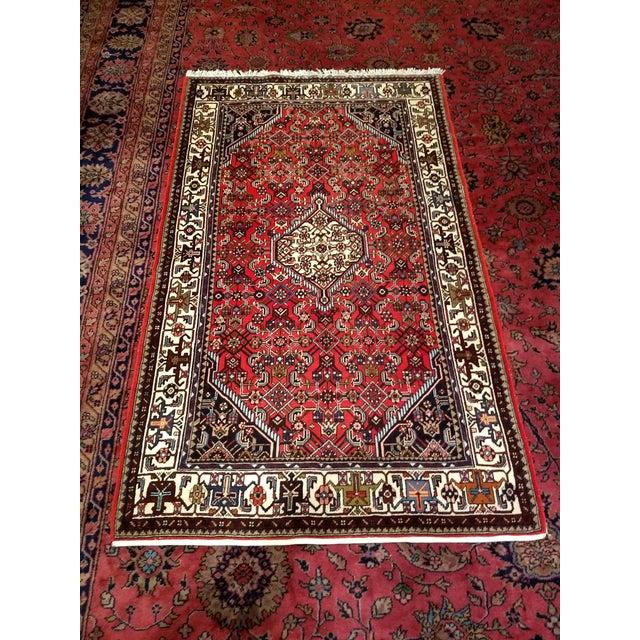 1950s Persian Handmade Village Carpet Rug 4′3″ × 6′11″ For Sale - Image 12 of 13