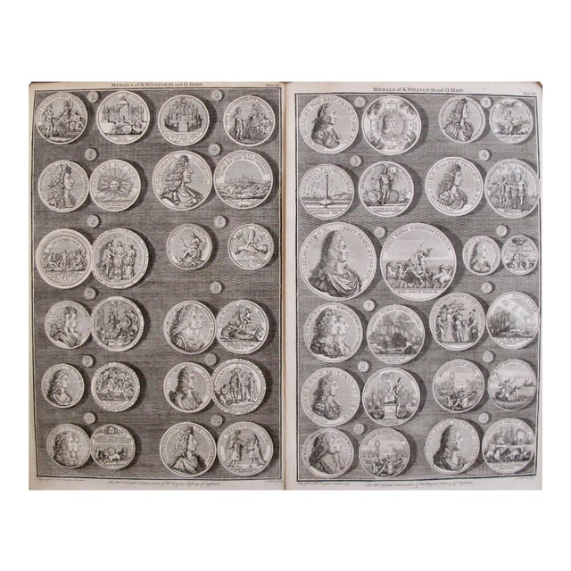 Original 1745 British Engravings, Royal Medals - A Pair - Image 1 of 9