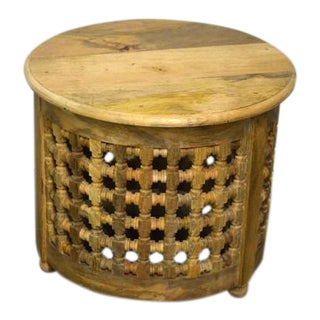 Indian Round Mousharabi Side Table - Natural For Sale