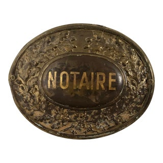 Antique French Notary Sign, Notaire For Sale