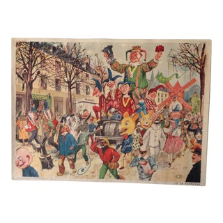 Vintage French School Poster of Carnaval. Chromolithograph For Sale