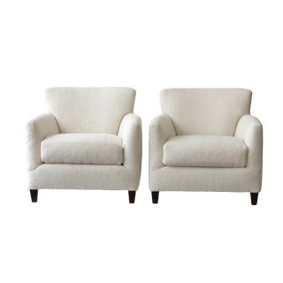 Pair of White Fuzzy Club Chairs For Sale