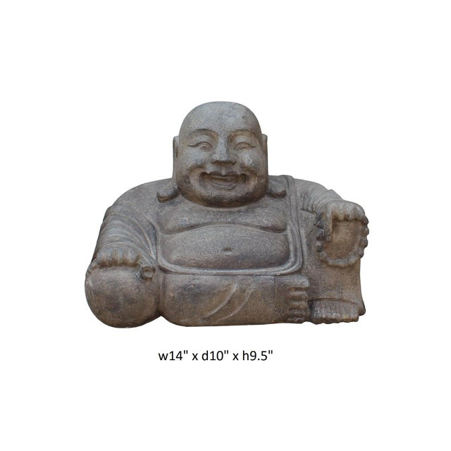 Chinese Gray Stone Carved Small Sitting Happy Laughing Buddha Statue For Sale - Image 5 of 5