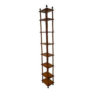 English Antique Elongated Tall Bamboo Bookshelf Etagere For Sale