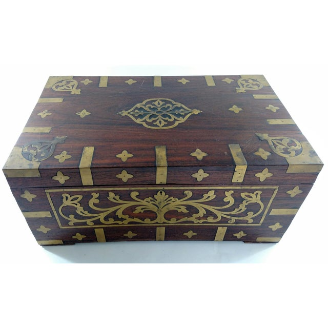Vintage Brass and Rosewood Indian Chest - Image 2 of 9