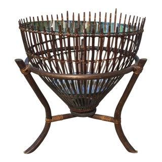 Vintage Franco Albini Rattan Fish Basket Coffee or Side Table For Sale