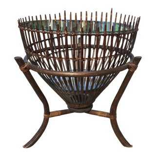 Vintage Rattan Fish Basket Coffee or Side Table For Sale