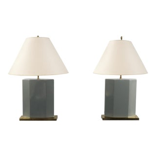 Pair of French Gray Lacquer Lamps