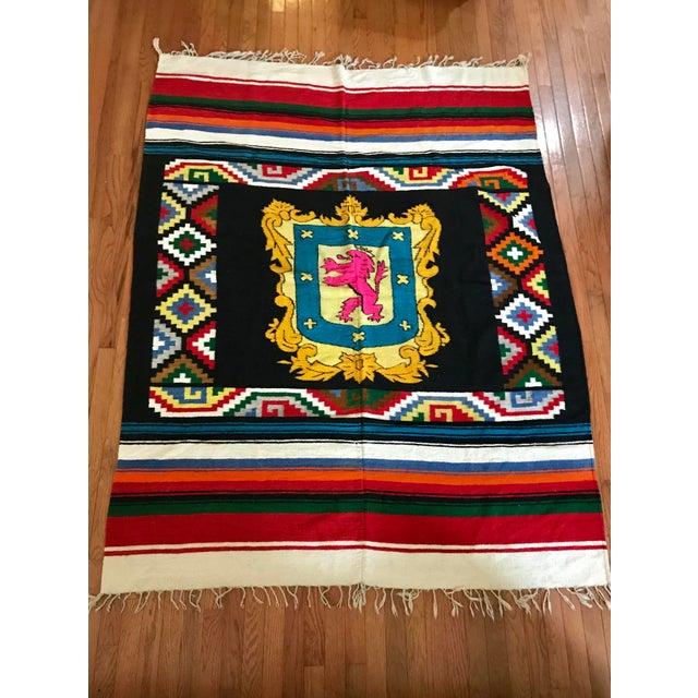 Folk Art 20th Century Folk Art Colorful Striped Geometric Wool Throw Blanket For Sale - Image 3 of 3