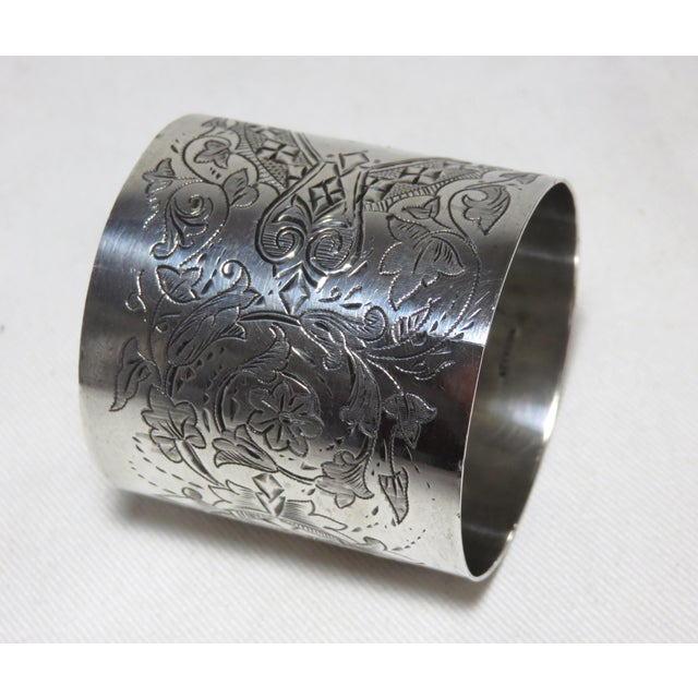 A Large - Oversize American Victorian Sterling Silver Napkin Ring. It has Exceptionally nice - Fancy Hand Engraved...