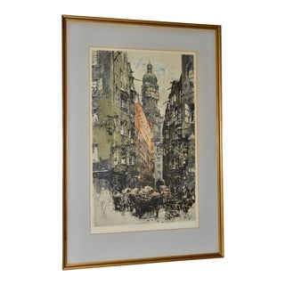 "Luigi Kasimir ""Innsbruck, Seilergasse"" Original Signed Color Etching C.1922 For Sale"