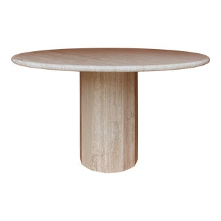 Vintage Italian Stone International Travertine Dining or Entry Table For Sale
