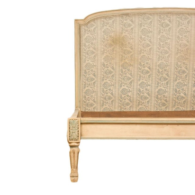 """A French Louis XVI style Full size painted bed circa 1940. Interior: 55""""x 71"""" Footboard: 11""""Tall"""