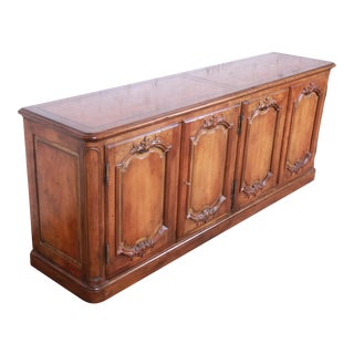 Baker Furniture French Country Cherry Wood Sideboard Credenza or Bar Cabinet For Sale